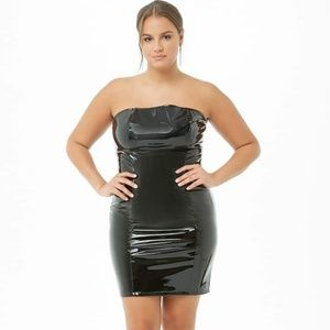 Faux Patent Leather Latex Vinyl Tube Bodycon Dress